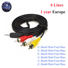 AV Cable 6 Lines 1 Year Cccam clines for Satellite TV Receiver DVB S2 High Quality