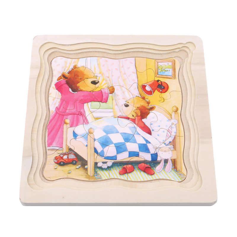 Rompecabezas de madera de múltiples capas de Historia de juguete educativo para niños para bebés, día de aprendizaje temprano, mariposa para crecer puzle