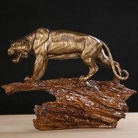 Ручной тигр Скульптура смолы Сибирь диких животных статуя Тотем Craft Орнамент Подарок для Бизнес, день рождения и домашнего декора