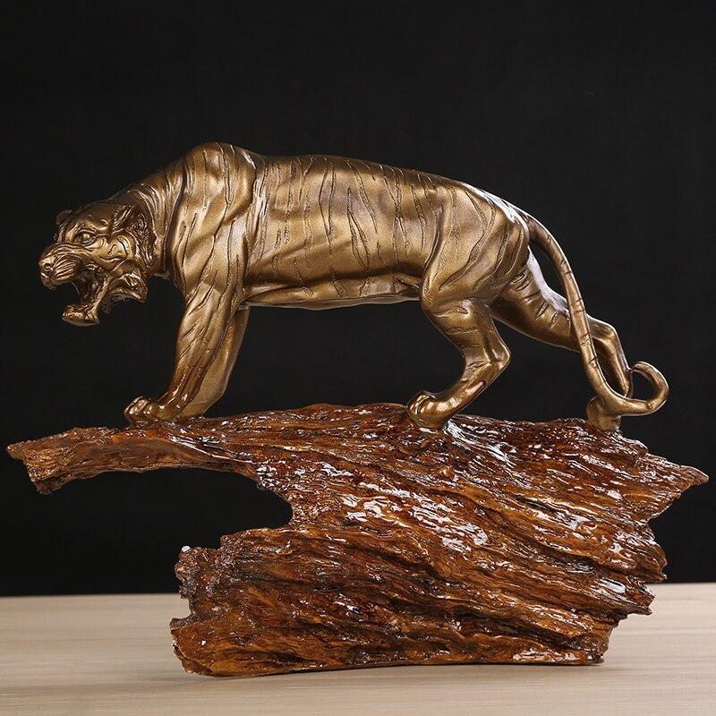 Handmade Tiger Sculpture Resin Siberia Tiger Statue Wild Animal Totem Ornament Craft Birthday Present For Business Home Decor