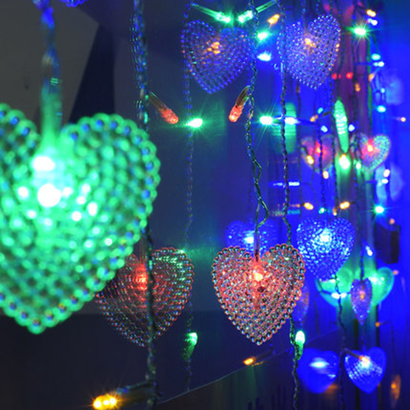 SVELTA LED 1.5M Love Heart Shape Curtain lights For Wedding Decorations Fairy String Lights For Living Room Home Xmas Holiday