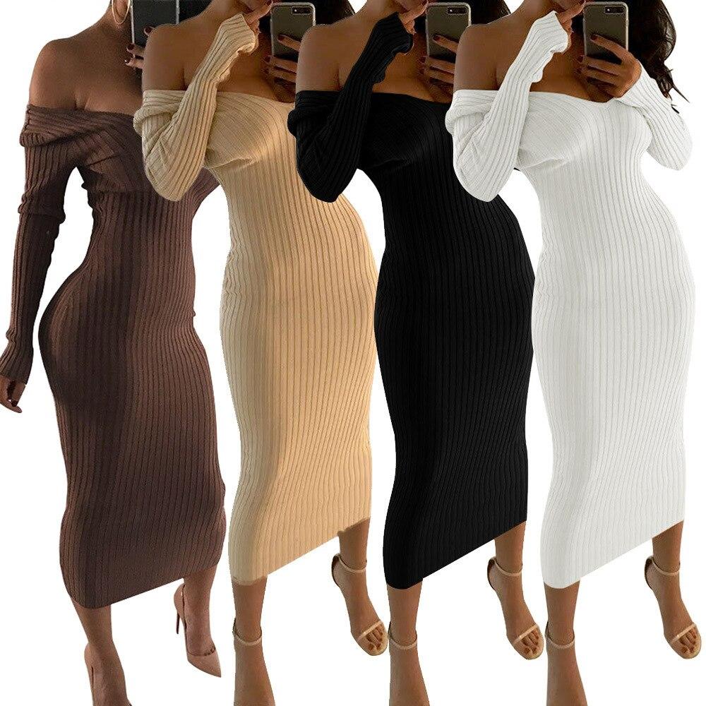 Womens estilo bonito com decote em v sólido outono mulher vestido confortável bainha magro moda ombro frio vestido feminino