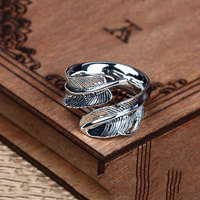 925 Silver Feather Ring 100 Pure S925 Sterling Solid Silver Rings For Women Men Jewelry Adjustable