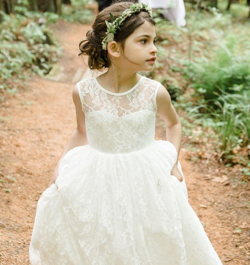 First Communion   Dresses   For   Girls   Gorgeous Lace   Flower     Girl     Dresses   For Wedding o Neck Beauty Little Kids Pageant Party Gowns