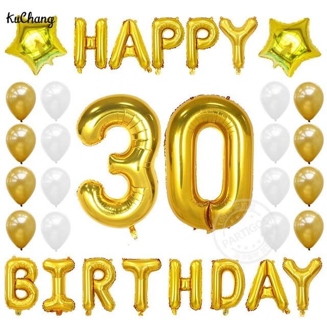 33 Pcs 40 Pouces Silm Nombre Foil Ballons Joyeux Anniversaire 30 Ans