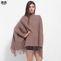Yilian garantía de calidad de la marca de fábrica oversize mujeres invierno de punto de Cachemira poncho CAPES chal suéter abrigo bufanda borla LA109
