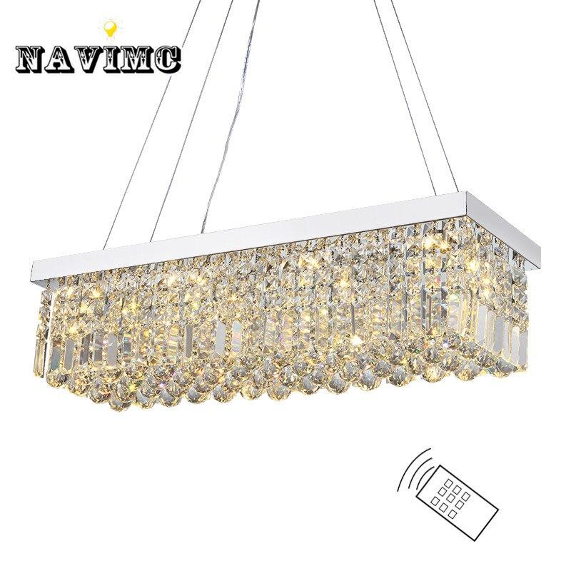 Dining Room Chandelier Size: Modern Long Size Rectangle K9 Crystal Chandelier Lighting
