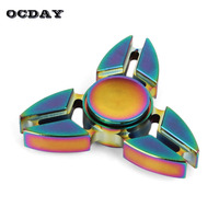 OCDAY Fidget Spinner Hand Triangle Crabs Rotating Fingertip Gyro Toy For Autism And ADHD Rainbow Color
