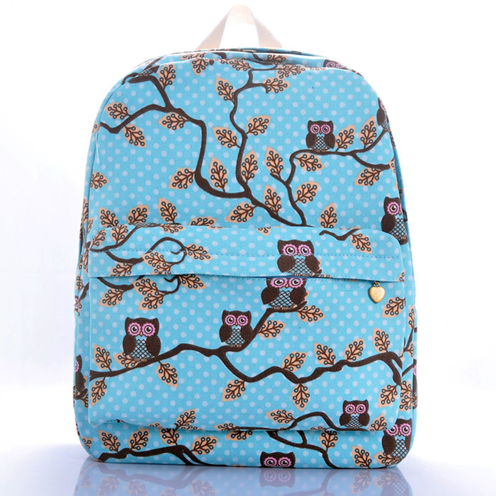 Cartoon owl backpack girl han edition rucksack Youth campus student travel bags - jian ye's store