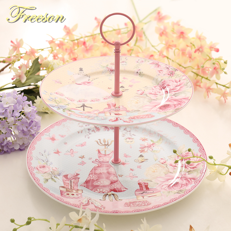 Europe Pastoral Bone China Double Decker Plates Fruit Dishes Cake Plate Candy Dish Ceramic Tray Porcelain