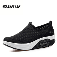 Summer Mesh Pustende Pute Sneakers For Women Tykkelsåler Toning Shoes Slip-on Daglig Sko EU35-42plus Størrelse