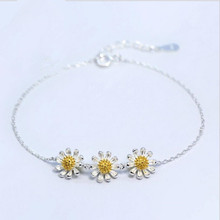 TJP Charm Female 925 Sterling Silver Bracelets Accessories Trendy Daisy Bangles For Girl Lady Party Jewelry Hot