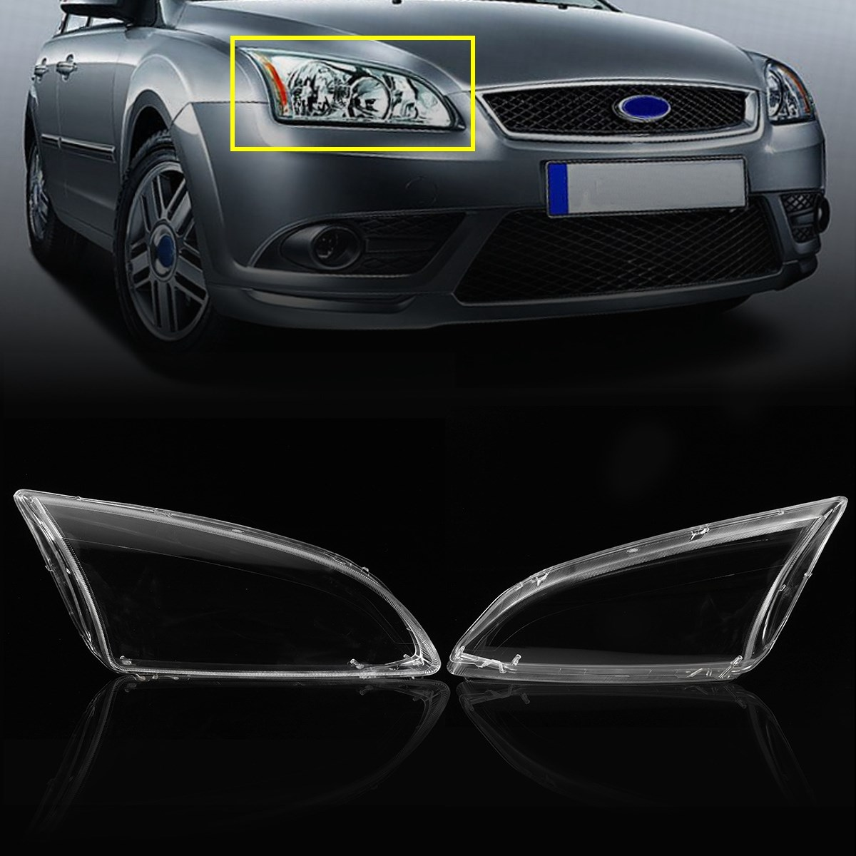 Pair Clear Left Right Car Side Headlights Lens Lamp Hoods Cover Glasses For Ford Focus 2005