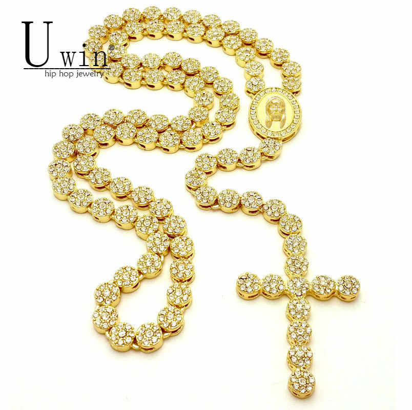 UWIN Iced Out Rosary Flower Necklace Link Bling AAA Rhinestone Gold Cross Jesus Head Pendant Mens Hip hop Necklace Chain