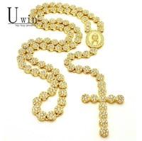 UWIN Iced Out Rosenkranz Blume Halskette Link Bling AAA Strass Gold Kreuz Jesus Kopf Anhänger Herren Hip hop Halskette Kette