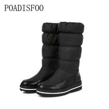 Poadisfoo Большие размеры Снегоступы 2017 зимние теплые сплошного цвета с блестками Модная хлопковая обувь на платформе сапоги толстые плюшевые высокое качество. X-92