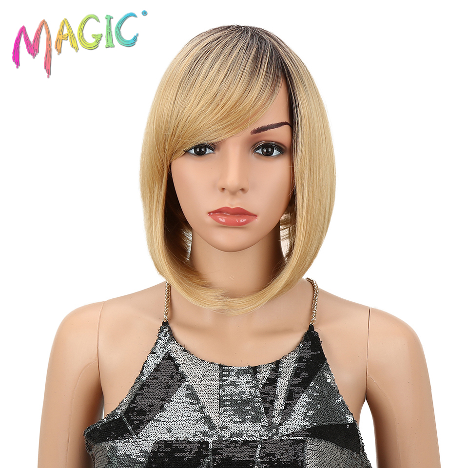 M Hair 12 Inch Short Synthetic Straight Hair Wigs Black Burgundy Green Ombre Wigs Heat Resistant Cosplay Wigs For Women