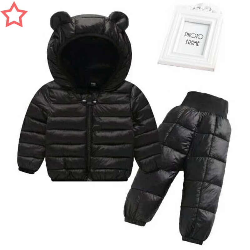 buy luxury aesthetic affordable price Baby Boy clothing Sets Winter Warm Lightweight Children Jackets baby Ski  suit Snowsuit Girl down Jackets Outerwear Coat+trousers