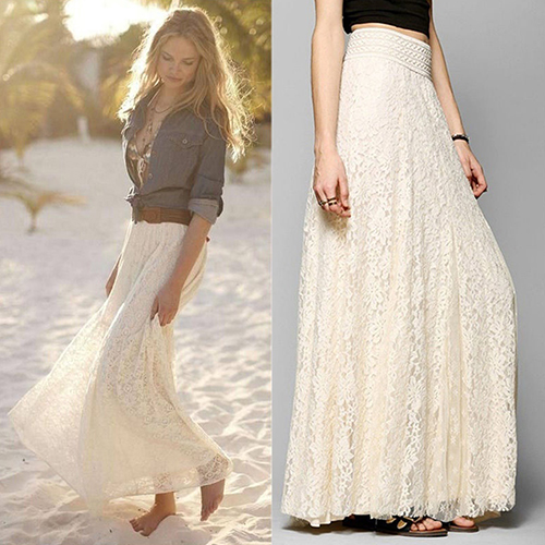 Women Summer Gypsy Boho Lace Layered Hitched Maxi Skirt A Line Long Dress Summer Discount Summer Discount