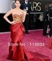 Oscar 2017 New Arrival Moda Noble Luxo Ruched Bordados Celebridade do tapete Vermelho Vestido De Noite Da Sereia Vestido Feito Sob Encomenda