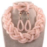 Hot Sale Spring Summer Jewelry Set Big Crystal Choker Necklace Earrings Bracelet Bridge Jewelry Set Wedding