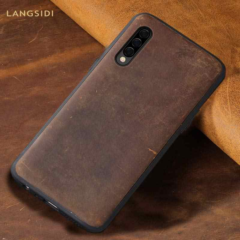 Natural PULL-UP leather case For samsung Galaxy a50 a70 a30 a40 a8 a7 2018 back cover For s10 s9 s8 Plus Note 8 9 360 Full cases