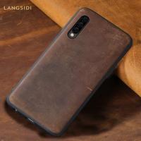 LANGSIDI из натуральной кожи для samsung a50 чехол Waterpfoof Вернуться Чехлы для samsung Galaxy A50 полная защита 360 чехол для A50