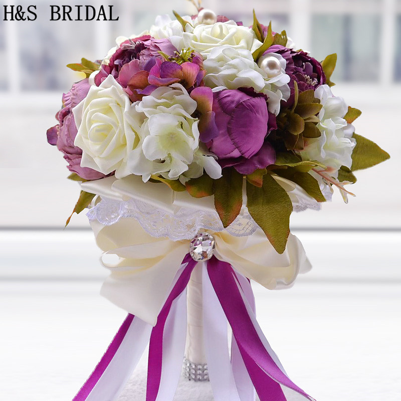 Peony Flower  Purple Pink Chocolate Color Bridal Bridesmaid Flower Wedding Bouquet Artificial Flower Rose Pearl Bridal Bouquets