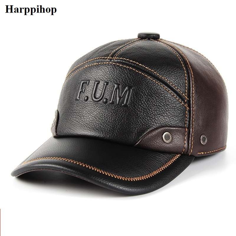2018 new Winter spring  Warm Men Hat Genuine Leather Cowhide Caps 3 Sizes with cotton Earmuffs outdoor genuine leather baseball unisex genuine leather cowskin baseball cap for men fall winter cowhide hat for women keep warm cow leather hat with ears black