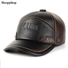 2019 new Winter spring  Warm Men Hat Genuine Leather Cowhide Caps 3 Sizes with cotton Earmuffs outdoor genuine leather baseball