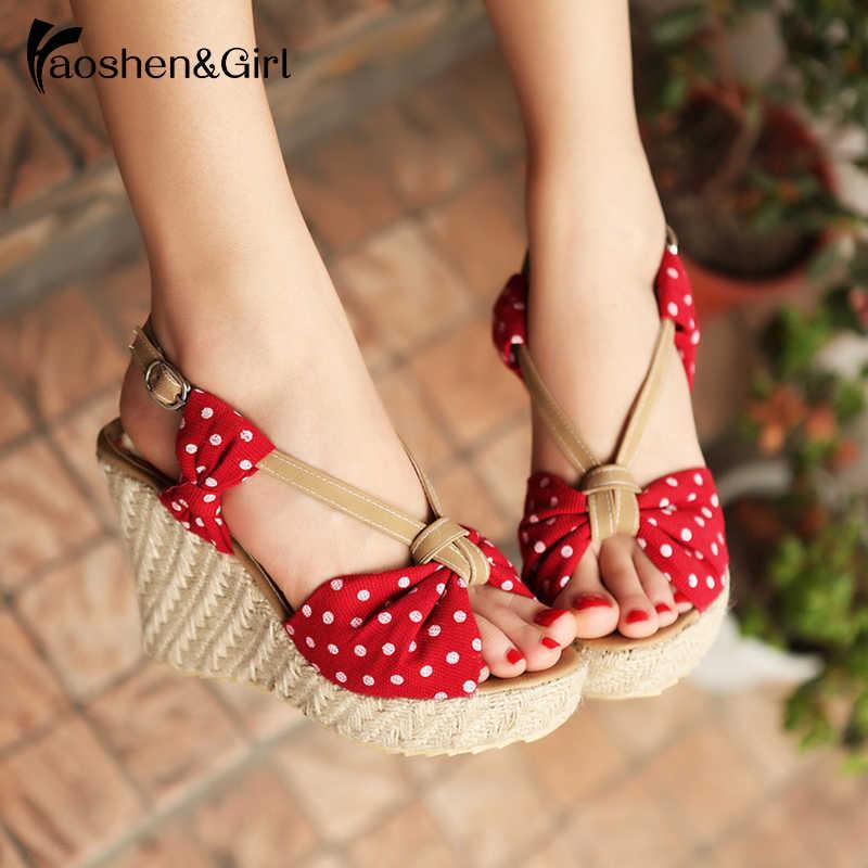 Haoshen Girl Women Sandals 2020 Summer Wedge High Heel Sandals