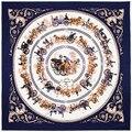 Мода Twill Шелковый Шарф Женщин Королевской Семьи Перевозки Лошадей Поездка Печати Квадратные Шарфы 100*100 см Высокое Качество Подарок шелковый Платок