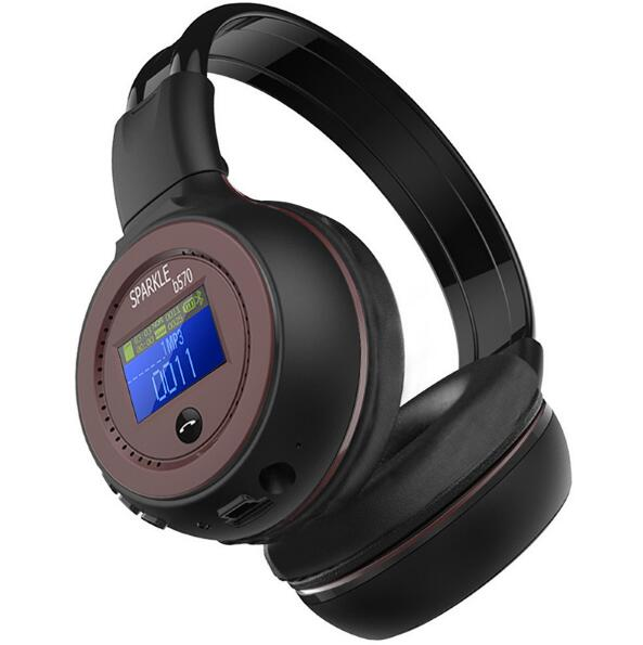 <font><b>B570</b></font> Wireless <font><b>Bluetooth</b></font> Headphone 3.5mm LCD Display Screen Stereo Music Headset Earphone with Mic FM Radio TF Card Slot