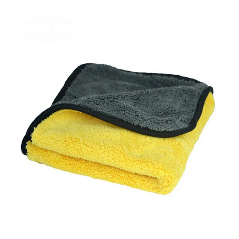 Super Thick Plush Microfiber Car Cleaning Cloths Wax Polishing Detailing Towel (Grey+Yellow)