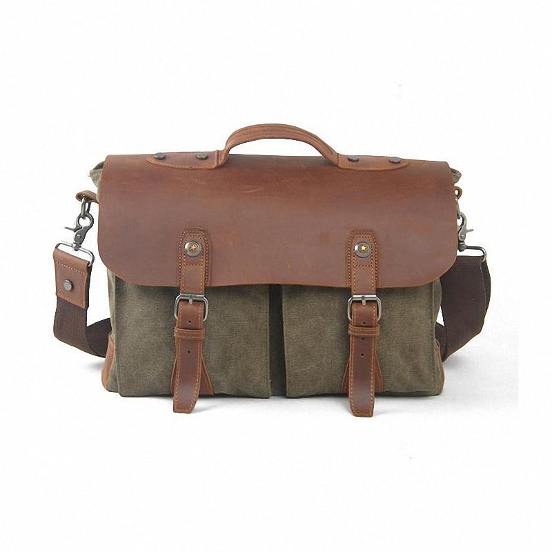 ФОТО Men's Canvas Briefcase Vintage Satchel School Military Shoulder Messenger Bags Fits 15 inch Laptop shoulder bag Tote LI-1043