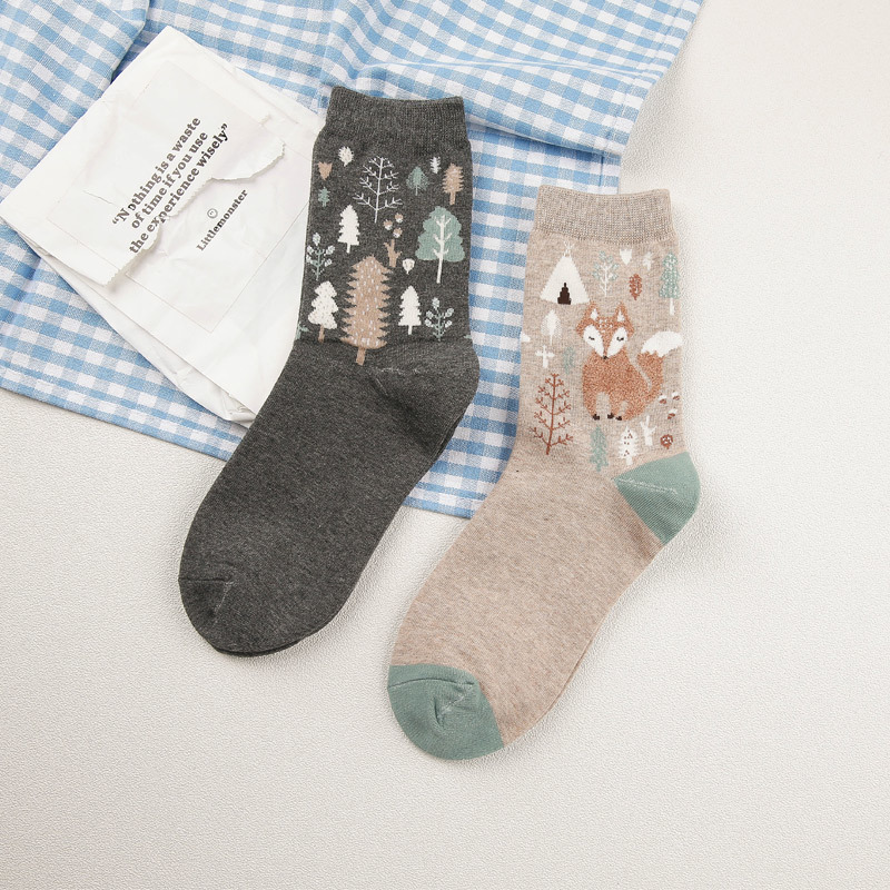 [PEONFLY] Winter Autumn 3D Animals Cartoon   Socks   Women FOX Foot prints Cotton   Socks   Floor Keep Warm High Qualit