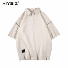 HIYSIZ NEW Men T-Shirt 2019 100% Cotton Brand Fashion Trend Casual Streetwear Large size lapel men's short sleeve T-shirt ST438 цены