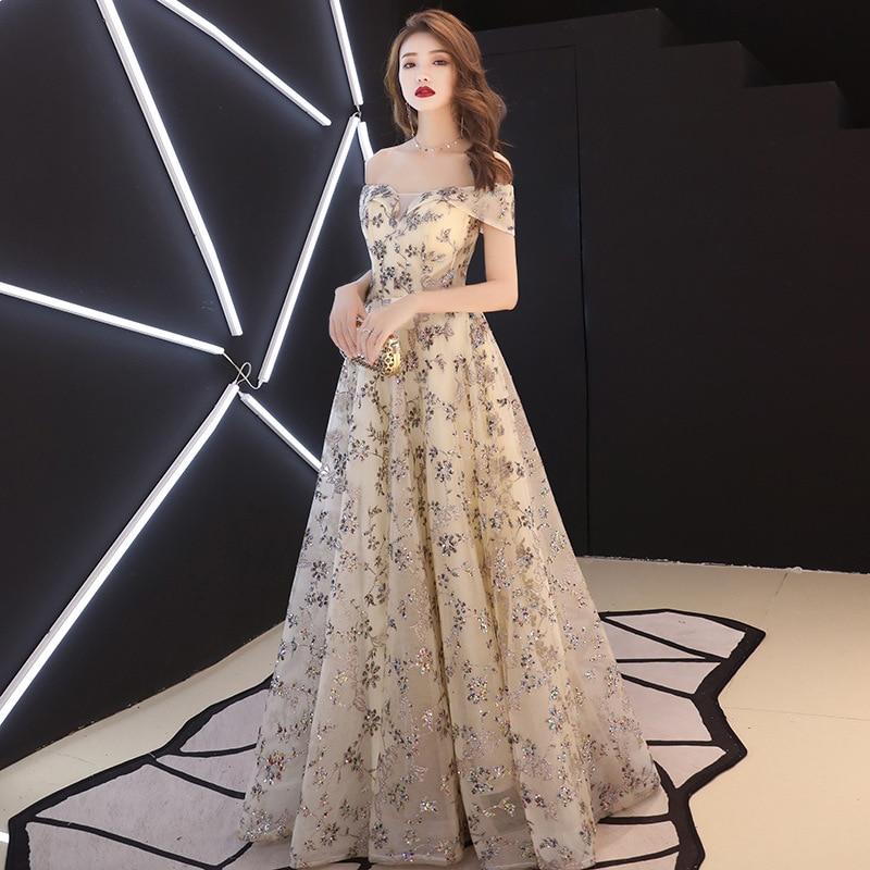 Slash Neck Women Dress Elegant 2019 New Champagne Color Long Dress Floral Sequined Party Dress bandage
