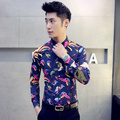 2016 spring new 2017 autumn high quality plus size 3XL 4XL 5XL polka dot bird print floral shirts men fashion flower shirts 5z