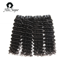 Ali Sugar Hair Cambodian Deep Wave Virgin Hair Bundle Deals 100% Human Hair Extensions Double Weft Natural Color Free Shipping(China)