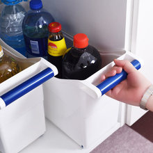Pulley storage box with handle kitchen cabinet debris sorting gap car