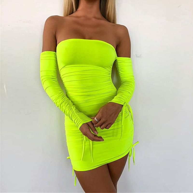 NORMOV Neon Green Ruched <font><b>Dress</b></font> <font><b>Women</b></font> Long Sleeve Off The Shoulder <font><b>Sexy</b></font> <font><b>Dress</b></font> Female Spring Summer Solid Party Night Club <font><b>Dress</b></font> image