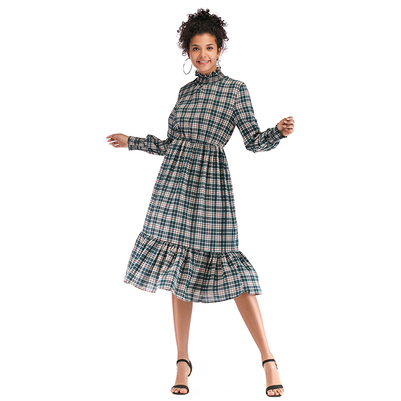 US $15.59 52% OFF|women spring 2019 turtleneck long sleeve checkered dress  casual long loose plaid dresses plus size robe femme printemps 5896-in ...