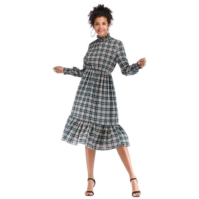 women spring 2019 turtleneck long sleeve checkered dress casual long ...