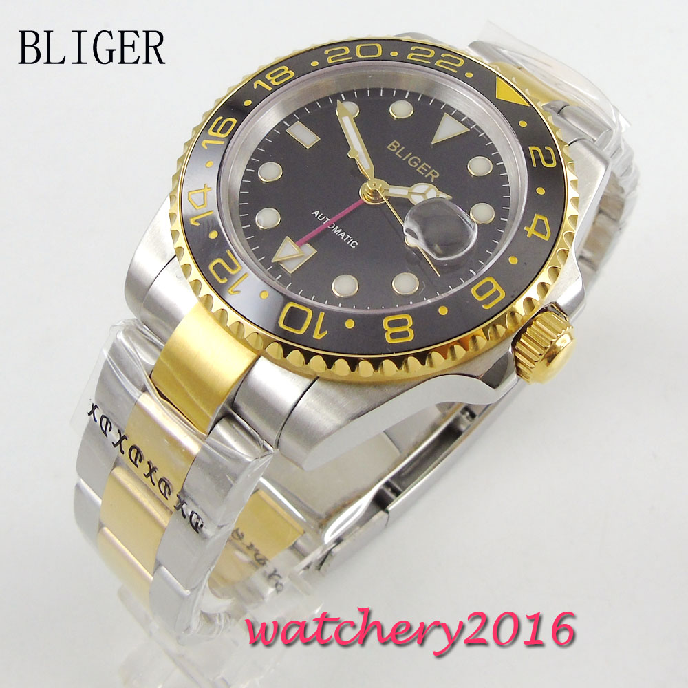 40mm Bliger sapphire glass black dial ceramic bezel luminous hands Full Stainless Steel GMT Automatic Movement Men