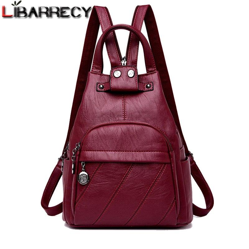 bad23d0cf442 Модный новый рюкзак женский PU кожаный женский рюкзак большой емкости  школьная сумка для девочек досуг сумки