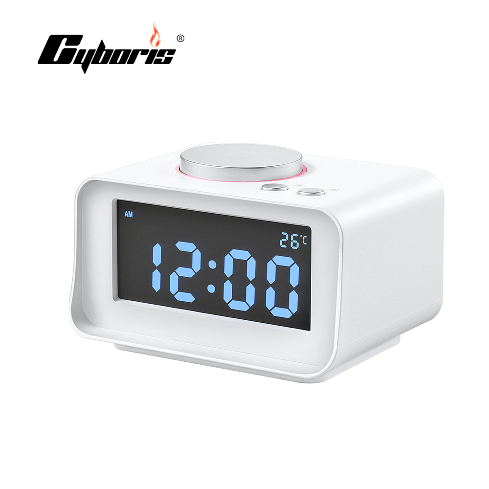 Cyboris Snooze Sleep Alarm Clock LED Display Speaker With Dual USB Charger FM Speaker Function For Mp3 Mp4 phone Ipad Computer