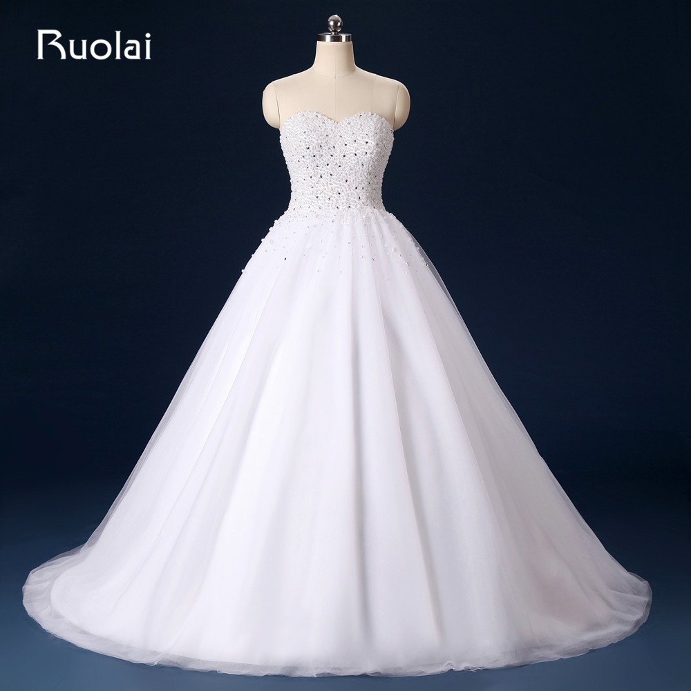 Real Image High Quality Sweetheart Beaded Top Ball Gown Wedding Dresses 2016 Tulle Bridal Gown Vestido de Novia Largo FW27