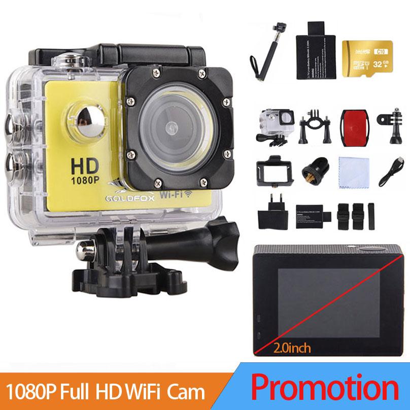 Goldfox 1080p Action Camera WiFi Camcorder HD 30M sport DV 2.0' Screen go waterproof pro camera Mini Camera Recorder Helemt Cam