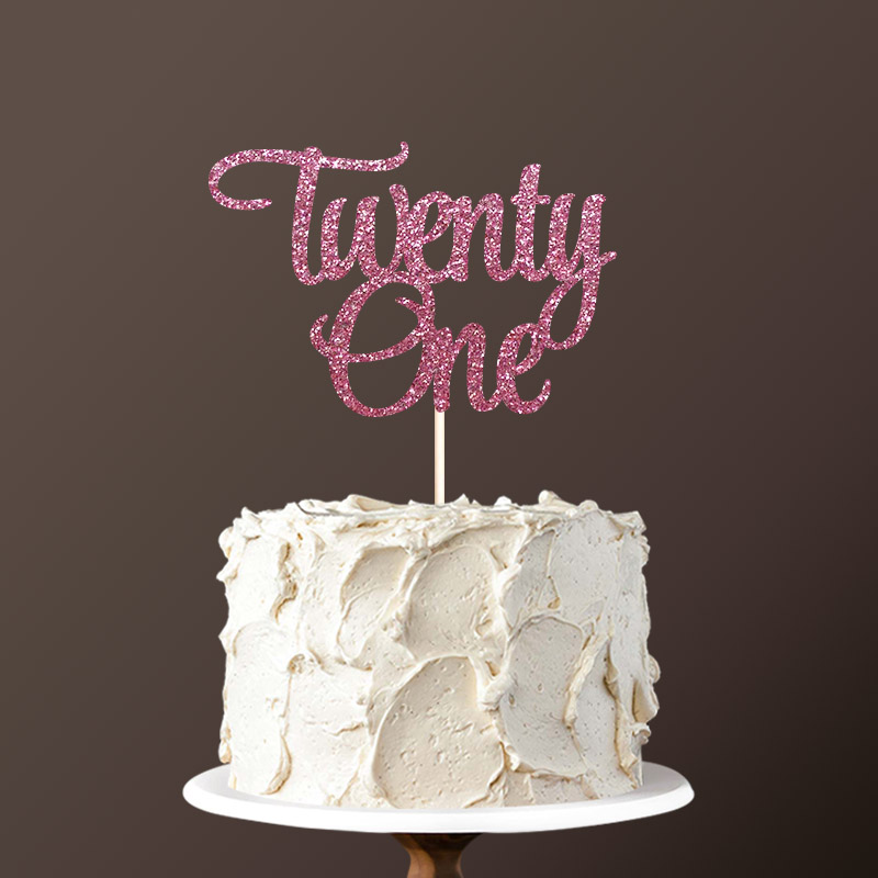 21st Birthday Cake Ideas.Us 3 99 Double Sided Gold Glitter Paper Twenty One Cake Topper Happy 21st Birthday Cake Toppers Cake Decorations Birthday Cake Decor In Cake